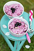 Blackcurrant porridge on a stool outdoors