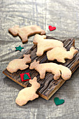 Animal-shaped shortbread biscuits