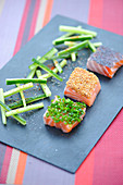 Three-flavored marinated salmon squares