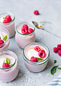 Raspberry and honey panna cottas