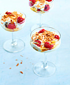 Fromage blanc with agave syrup and coconut,raspberries with passion fruit pulp and flaked Gavottes