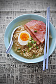 Ramen with egg and ham