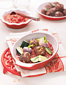 Lamb meatballs with baked vegetables