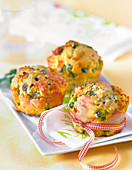Pea,onion and curry savoury muffins