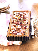 Mushroom and streaky bacon quiche