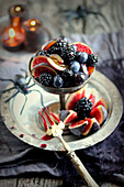 Black and red fruit Halloween fruit salad
