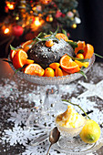 Christmas pudding with kumquats and clementines,Brandy butter