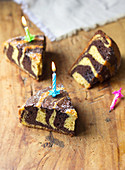 Chocolate-vanilla vanilla-chocolate marble cake with Birthday candles