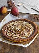 Pear and hazelnut cream tart