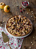 Apple,almond and cranberry pie