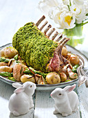 Rack of lamb with herb crust,Grenailles potatoes,spring onions and green asparagus