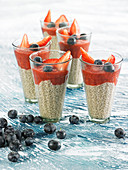 Chia cream with strawberry puree