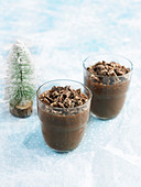Chocolate panna cotta with chocolate Turron crumbs