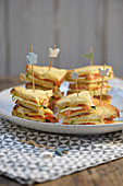 Mini vegetable and cheese club sandwich