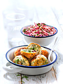Kotlety,chicken and dill meatballs,raw beetroot salad