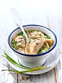 Pork and red onion Pelmeni with vegetable broth