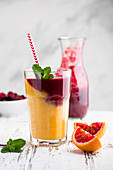 Blood orange,berry and mango smoothie