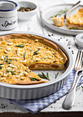 Sweet potato and feta cheese quiche with herbs