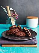 All-chocolate cookies with crunchy peanut butter center