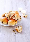 Milchbrötchen mit Haselnüssen und Schokotropfen, laktosefrei und ohne Butter