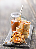 Ballottines of pancakes filled with candied apple and salted butter caramel sauce