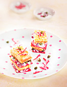 Mille-feuille of salmon and chioggia beet with capers