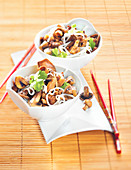 Rice Noodles with Sautéed Beef and Mushrooms