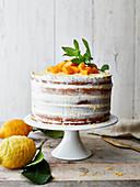Lemon and mango naked cake
