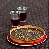Carambars,walnut and pistachio pie