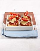 Artichoke,tomato and chorizo Pintxo