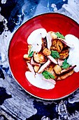 Roasted ceps with smoked streaky bacon,croutons and onion emulsion
