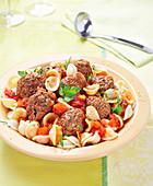 Orecchiette with tomato sauce and beef meatballs