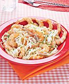 Spaghetti in creamy sauce and gambas