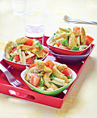 Penne,chicken,tomato and green pepper salad