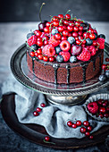 Chocolate olive oil cake with summer berries