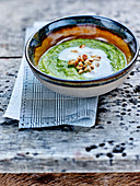 Broccoli,Avocado,Herb,Fermented Milk Soup With Grilled Pine Nuts