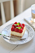 Portion Of Raspberry-Vanilla Cheesecake