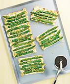 Cream Cheese And Green Asparagus Rectangular Pizza