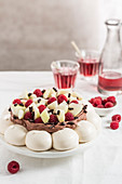 Chocolate,Pear And Raspberry Pavlova