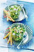Zucchini tartar with fresh cheese