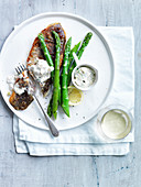 Grilled Sea Bream with Steamed Asparagus and Banana Tartar Sauce