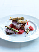 Pork Tenderloin with Fried Okra and Pickled Watermelon