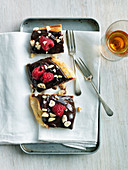 Chocolate Puff Pastry with Raspberries and Hazelnut Chips