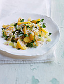 Citrus salad with fresh herbs, shallots and poppy seed
