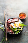 Rice,Beef,Egg And Pak Choi Cabbage Asian Bowl