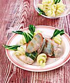 Rabbit Wraps with Bacon and Chard, Pasta Vesuvio