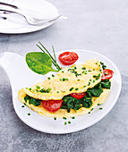 Spinach, Cherry Tomato and Chive Omelette