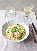 Creamy pea and shrimp risotto