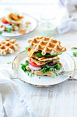 Buckwheat Waffles With Halloumi And Chimichurri