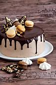 Coffee, chocolate and vanilla drip cake